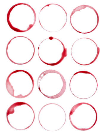 close up of a wine stain on white background Foto de archivo