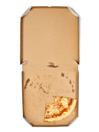 close up of a pizza in the box on white backgroubd