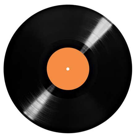 close up of a vintage vinyl on a white background Foto de archivo