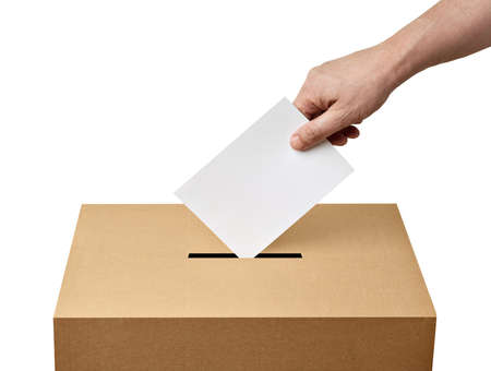 close up of a ballot box and casting vote on white background Stock Photo