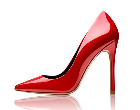 close up of red high heels on white background Stockfoto