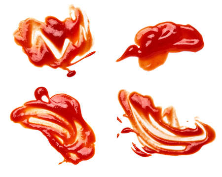 close up of a ketchup stain on white background