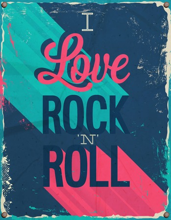 I love rock and roll. Vector illustration. Vector