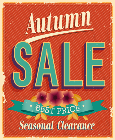 40s: Autumn Sale. Vintage card. Vector illustration.