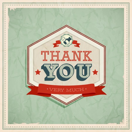 scratch card: Vintage card - Thank You. Vector illustration.