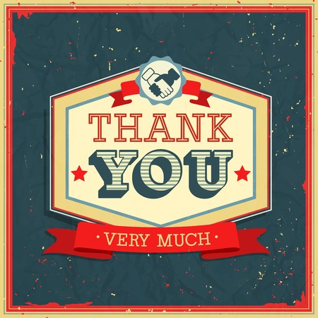 very: Vintage card - Thank You. Vector illustration.