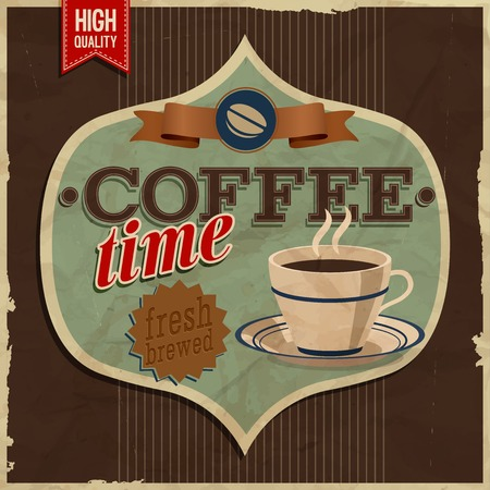 Vintage card - coffe time. Vector illustration.