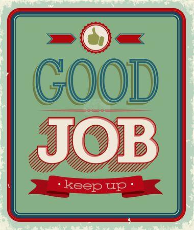 good job: Vintage card - Good job. Vector illustration. Illustration
