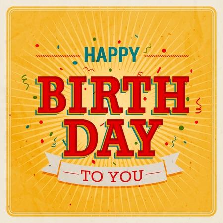 祝賀会: ビンテージのカード - お誕生日おめでとう。ベクトル イラスト。  イラスト・ベクター素材