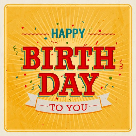 birthday decoration: Vintage card - Happy birthday. Vector illustration.