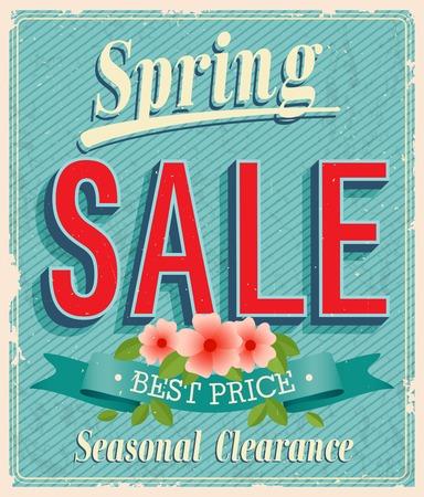 Vontage card - Spring Sale. Vectores