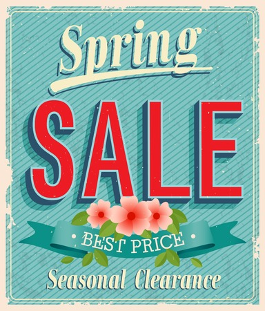 Vontage card - Spring Sale. Illustration
