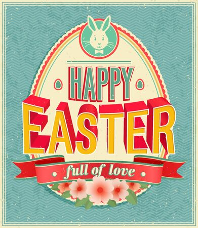 spring background: Happy easter - vector illustration Illustration