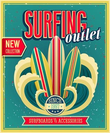 Surfing otlet. Vector ilustration.