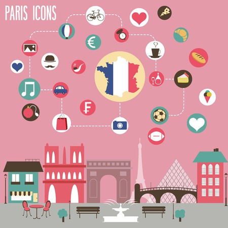europa: Paris icons set. Vector illustration.
