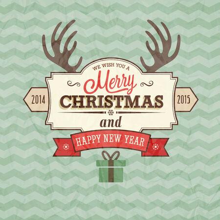 Vintage merry christmas card. Vector illustration.
