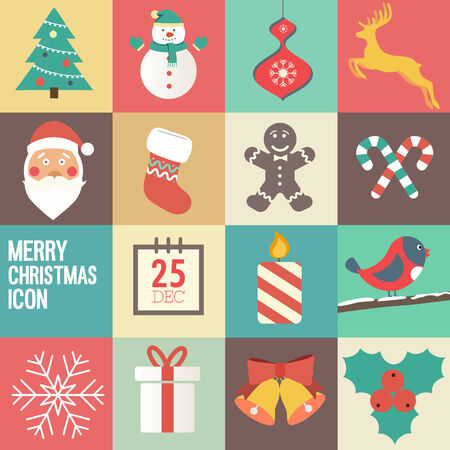 caligraphic: merry Christmas icon set. Vector illustration. Illustration