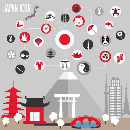 ponte giapponese: Icone Giappone set. Illustrazione vettoriale. Vettoriali