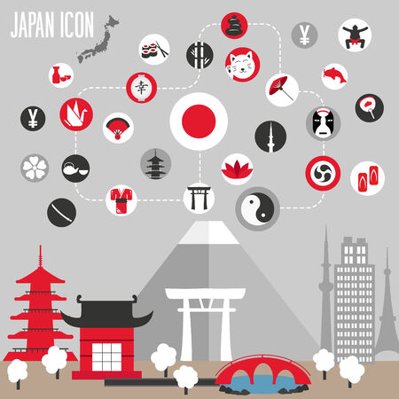 yen: Japan icons set. Vector illustration. Illustration