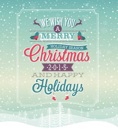 Christmas vintage Poster. Vector illustration. Vectores