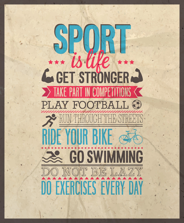 Sport is life. Vector illustration.