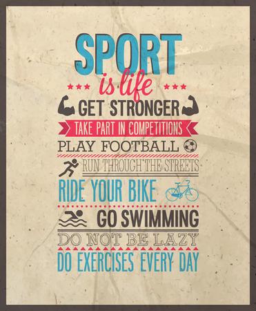 Sport is life. Vector illustration. Vector