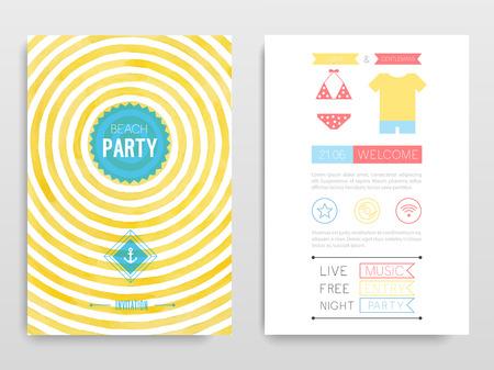 Watercolor flyer Beach party. Vector illustration. Vectores