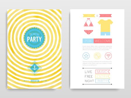 beach party: Watercolor flyer Beach party. Vector illustration. Illustration