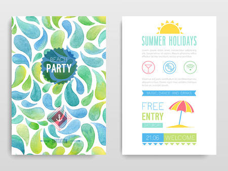 Watercolor flyer Beach party. Vector illustration. Illustration