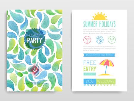 Watercolor flyer Beach party. Vector illustration. 向量圖像