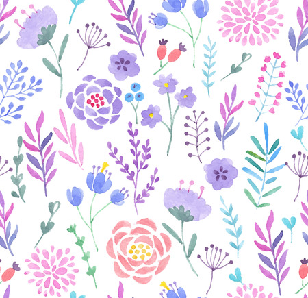 Watercolor seamless pattern. Vector illustration. Vettoriali