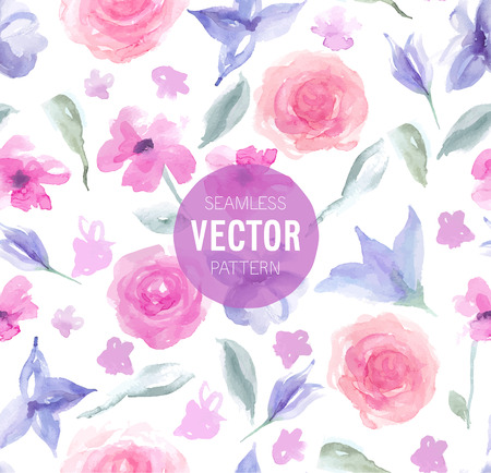rhomb: Watercolor rose seamless pattern. Vector illustration.