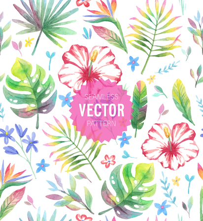 Watercolor tropical seamless pattern. Vector illustration.