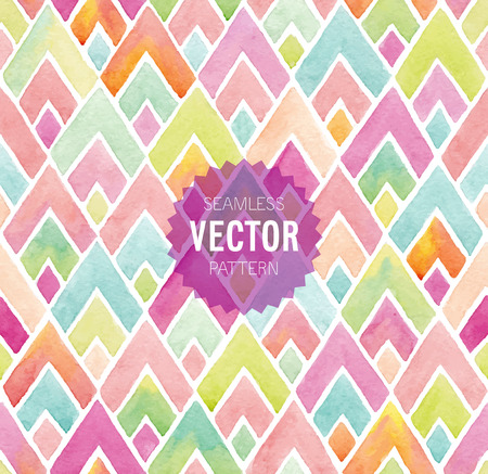 pink pattern: Watercolor seamless geometric pattern. Vector illustration.