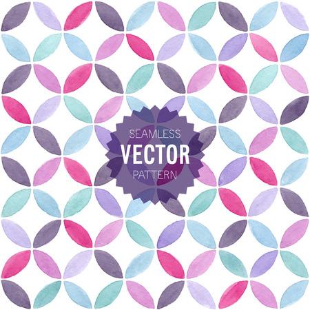 Watercolor seamless geometric pattern. Vector illustration.
