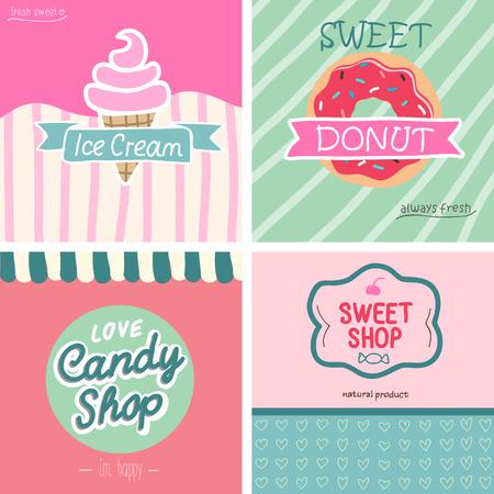 sweet shop: Beatifull estilo vintage set tienda de dulces. -Ilustraci�n vectorial.