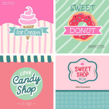 candies: Beatifull vintage style sweet shop set. VEctor -illustration. Illustration