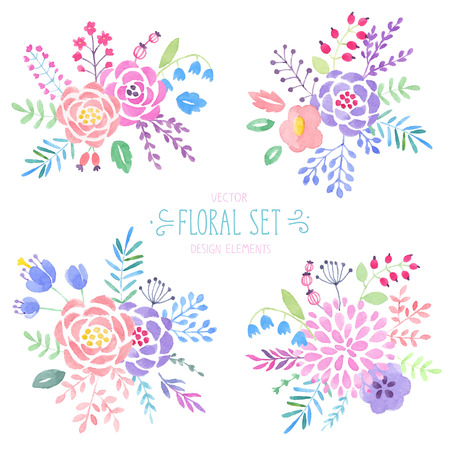Vintage watercolor floral set. Vector illustration.