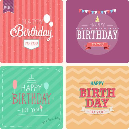 familias felices: Tarjeta de la vendimia - conjunto cumpleaños feliz. Ilustración del vector. Vectores