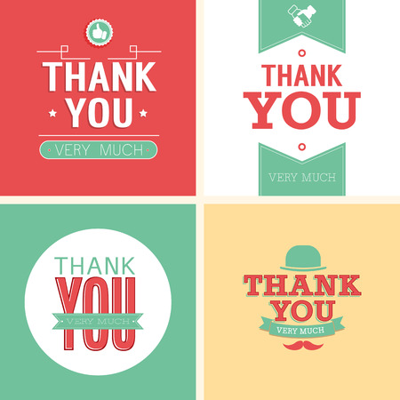 Vintage card - Thank You set. Vector illustration. 矢量图像