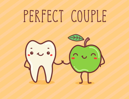 aple: Vector hand draw illustration - perfect couple.