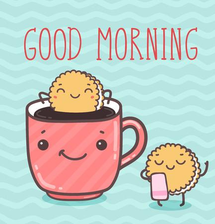 chocolate cupcakes: Vector hand draw illustration - good morning. Illustration