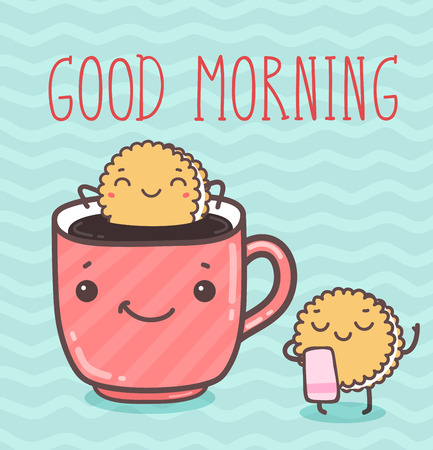 Vector hand draw illustration - good morning. Imagens - 43125990