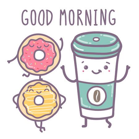 Vector hand draw illustration - good morning. Vectores