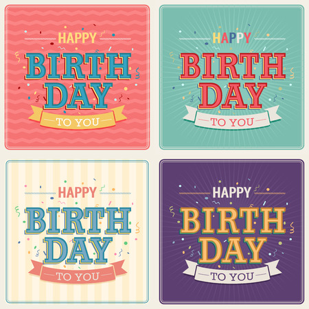 poster template: Vintage card - Happy birthday set. Vector illustration.