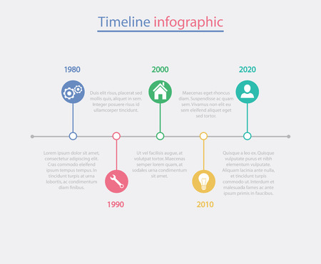 business template: Timeline infographic business template vector illustration. Illustration