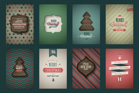 invitation: Vintage poster set  Merry Christmas. Vector illustration.
