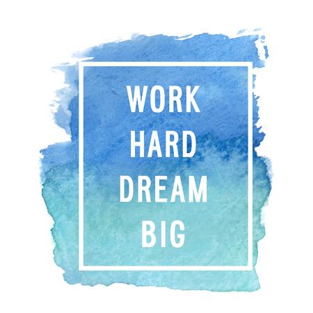 """Motivation Plakat """"hart arbeiten, große Träume"""". Vektor-Illustration Standard-Bild - 49808653"""