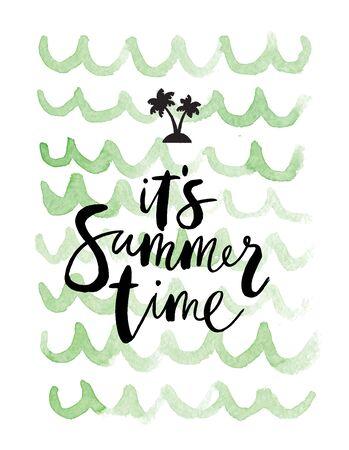 """Zomer achtergrond """"Zijn zomertijd"""" met vakantie elementen"""