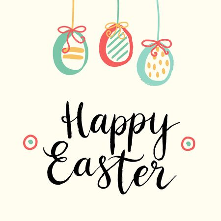 Happy easter cards illustration with easter eggs and font. illustratiom